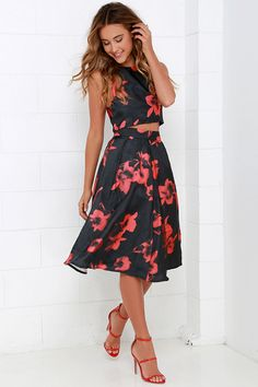 Just My Imagination Black and Red Floral Print Two-Piece Dress at Lulus.com!