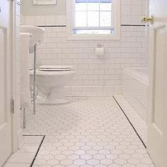White Hex Tiles, Traditional, bathroom
