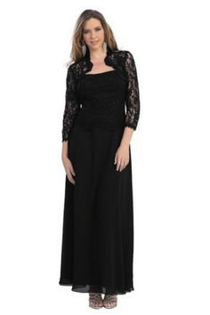Modest Elegant Long Black Mother of the Bride Dress Formal