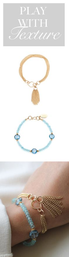 Adding a tassel detail is a great way to add texture and movement to your arm stack!  This gorgeous combo is made of the Jewel Bracelet in Blue Quartz and the Flourish Tassel bracelet in 14 Karat Gold Fill.