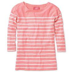 Coral and white breton stripe jersey top
