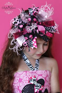 Im a Barbie Girl Bling Over the Top Hair Bow with matching headband...ONE DOLLAR SHIPPING  http://www.etsy.com/listing/74377055/im-a-barbie-girl-bling-over-the-top-hair?ref=sr_gallery_16_search_query=over+the+top+hair+bow_view_type=gallery_ship_to=US_page=5_search_type=all