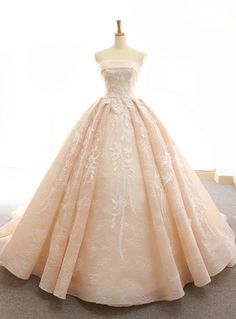 Dress champagne Strapless Lace Ball Gown Prom Dresses For Teens Sweet 16 Quinceanera Dress Modest strapless ball gown prom dress. It can be made in other colors, please contact us Gown Applique Across Train Lace Prom Gown, Lace Ball Gowns, Ball Gowns Prom, Ball Dresses, Dresses Dresses, Evening Dresses, Formal Dresses, Dress Lace, Afternoon Dresses