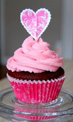 Red Velvet Cupcake with Pink Mascarpone and Cream Cheese Frosting