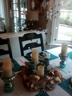 Mirror Tiles For Table Decorations Christmas Kitchen Table Using Teal Gold Crystal And Mirror Tiles