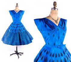 Vintage 50s Dress // 1950s Dress // Blue Dress // Flocked Dress // Party Dress // Full Skirt Dress // Prom Dress - sz S - 26 Waist by SwellFarewell on Etsy https://www.etsy.com/listing/252237257/vintage-50s-dress-1950s-dress-blue-dress