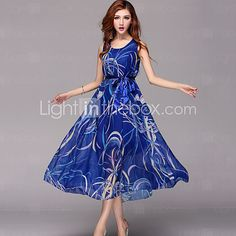 Women's+Blue+Dress+,+Casual+Sleeveless+-+AUD+$40.03
