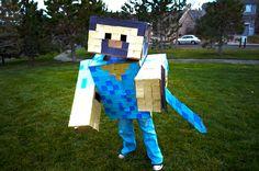 Halloween Minecraft Costume Kids DIY Handmade Adult Box Pixel Pick Ax Sword Blue Steve Pink Girl Cosplay