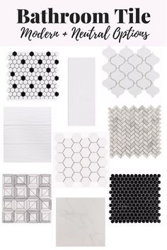I love all of these modern and neutral tile options! They'd be perfect for a bathroom renovation - black and white tile is so gorgeous!