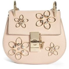 Chloe 'Mini Drew - Flowers' Crystal Embellished Leather Crossbody Bag (£1,665) ❤ liked on Polyvore featuring bags, handbags, shoulder bags, cement pink, shoulder handbags, mini crossbody purse, chloe crossbody, pink leather purse and handbags crossbody