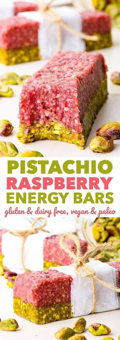 Pistachio Raspberry Homemade Energy Bars {gluten, dairy, egg, peanut, soy & refined sugar free, vegan, paleo} - These pistachio raspberry homemade energy bars taste like dessert but are the perfect quick healthy snack. They are super easy and quick.