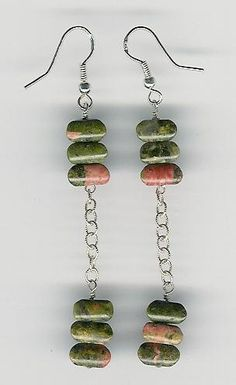 Earrings  Unakite Sterling Silver Long Unique by ChicStatements