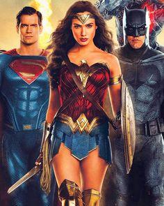 The trinity in justice league Batman Wonder Woman, Wonder Woman Art, Wonder Woman Movie, Gal Gadot Wonder Woman, Heroes Dc Comics, Dc Comics Characters, Dc Comics Art, Marvel Dc Comics, Batman Vs Superman