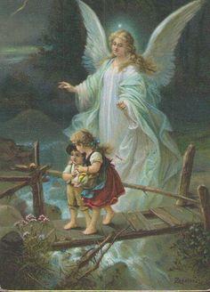 Schutzengel mit Kindern am Bach, Künstler-Postkarte   eBay