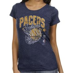 adidas Indiana Pacers Ladies Originals Nice Shot Too Cap Sleeve Fitted T-Shirt - Navy Blue
