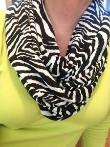 Zebra Print Infinity Scarf... but with a different colored shirt
