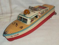 VINTAGE BATTERY OPRATED MODERN TOYS HARBOUR PATROL BOAT TINPLATE TOY JAPAN 1960 Antique Metal, Antique Toys, Vintage Toys, Retro Vintage, 1980 Toys, Modern Toys, Collectible Toys, Tin Toys, Cool Toys