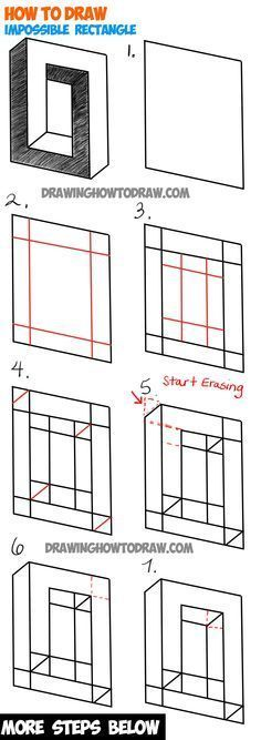 How to Draw an Impossible Square or Rectangle : Easy Step by Step Drawing Tutori. How to Draw an Impossible Square or Rectangle : Easy Step by Step Drawing Tutorial - Illusion Drawings, 3d Drawings, Illusion Art, Cartoon Drawings, Pencil Drawings, Hipster Drawings, Pencil Art, Drawing Lessons, Drawing Techniques