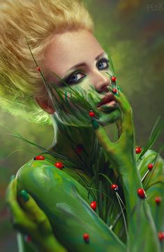 Photo about Creative beauty shot with green body-art. Image of blond, makeup, portrait - 24399048 Photomontage, Green Bodies, Photoshop, Maquillage Halloween, Halloween Makeup, Halloween Halloween, Beauty Shots, Green Nature, Woman Painting