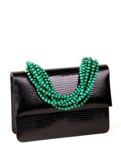 Lizard Necklace Handbag, Black Mini
