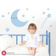 Happy Moon & Stars Wall Decal Sticker Baby Nursery Children