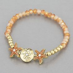 Gold-Finish-Brown-White-Seed-Beaded-Starfish-Sea-Life-Inspired-Stretch-Bracelet