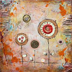 Schilderij Acryl Gouden Snoepjes Rood (Yulia Muravyeva) 40x40 cm
