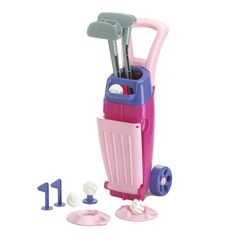 American Plastic Toys Girls' Junior Durable Golf Set with Sturdy Wheels, Pink/Purple -- Awesome products selected by Anna Churchill