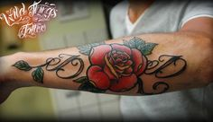 Lettering with rose tattoo - 110  Awesome Forearm Tattoos  <3 <3