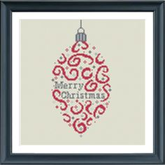 Christmas cross stitch pattern. Christmas bauble merry christmas. Designed to fit a 9 inch embroidery hoop (stitched on 14 count aida)  The pattern comes as a PDF file that youll will be able to download immediately after purchase. In addition the PDF files are available in you Etsy account, under My Account and then Purchase after payment has been cleared. You get a pattern in colorblocks and symbols, a pattern in black and white symbols, and a list of the floss colors youll need. You also…