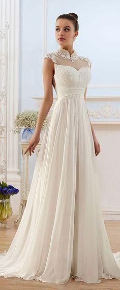 Graceful Chiffon High Collar Neckline Sheath Wedding Dress With Lace Appliques