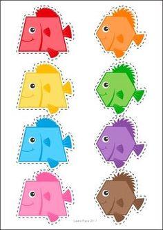 Ocean Preschool and Kindergarten Center Activities. Sort the fish by shape to the correct fish bowl.