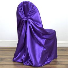 Brand New Universal Pillowcase Chair Covers * Works with Banquet, Folding, and Chiavari style chairs. Satin Color, Purple Satin, Rainbow Wedding Decorations, Banquet Chair Covers, Purple Chair, Chair Sashes, Reception Party, Wedding Chairs, Purple Wedding