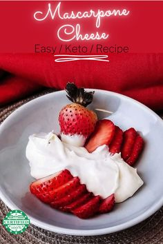Make this incredibly easy keto mascarpone cheese recipe right now and impress your family with your awesome skills later! When you find mascarpone cheese in the store it's normally very expensive for such a little container. Which made me think this cheese is hard to make, but to my surprise it's actually really easy to make and keto friendly. Right now you're going to learn how to make this incredible cheese - Easy Keto Menus style! Keto Carbs, Low Carb Keto, Low Carb Recipes, Real Food Recipes, Keto Dessert Easy, Keto Desserts, Keto Cheese, Cheese Recipes, Brunch Recipes