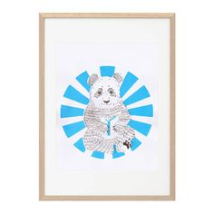Screen printed by hand in two colors with water -based inks ( non-toxic ) , this poster Little Panda will gladden a childs room or a desk .  A4
