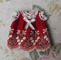 Red swiss embroidery dress for mignonette or tiny antique doll