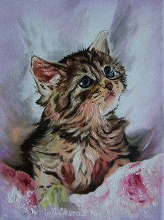 Kitten Cat Portrait Original IMPASTO Oil Painting by ArtistsUnion