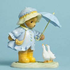 Cherished Teddies Rainbow Weather Brings Us Together Bear in the Rain Figurine by Cherished Teddies Cherished Teddies by Enesco