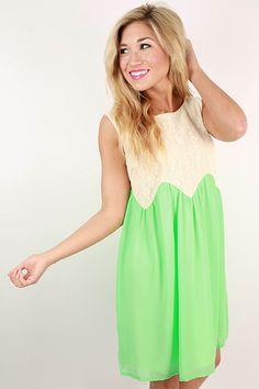 Good Faith Shift Dress in Neon Lime