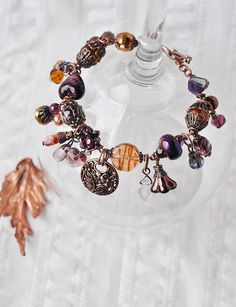 "Bracelet ""Wine"", garnet, OOAK design jewelry, amethyst, lampwork beads, copper, fall color, czech glass, women's bracelet"
