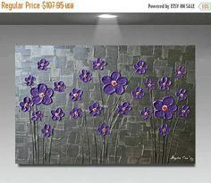 SALE Original Modern Purple Metallic Silver Flowers