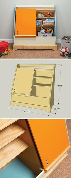 Here's a cool twist on a traditional toy box. This one offers lots of storage space, has shelves inside to help keep things organized, and even a bookshelf on top. Plus, the door doubles as an easel that can support large sheets of paper for drawing and coloring. It's built from MDF and pine boards. Get the free DIY plans at buildsomething.com