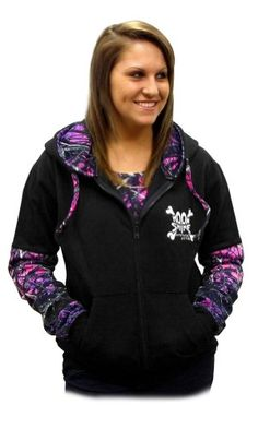 9384a0f3542 Moon Shine Attitude Attire Muddy Girl Zipper Front Camo Sleeves Black for  only…