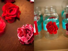 Mason Jar Wedding WITH RED FLOWERS