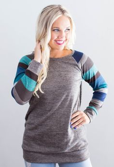 Dells Striped Sleeve Sweater