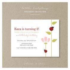 little ladybug  :  birthday invitation set