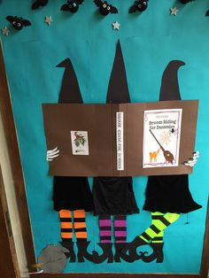 halloween door decorations Halloween Bulletin board I hope we don't crash into a tree Halloween Tableau, Halloween Classroom Decorations, Halloween Door Decorations, School Decorations, Easy Halloween, Halloween Themes, Halloween Crafts, October Bulletin Boards, Halloween Bulletin Boards