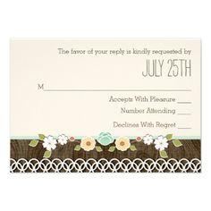 MINT RUSTIC FLORAL BOHO WEDDING RSVP CARD