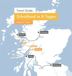 Travel Guide: Isle of Skye in 2 Tagen – Apricots & Lemons Edinburgh, Glasgow, Inverness, Highlands, Der Bus, Travel Guide, Map, Travel Scrapbook, Scotland