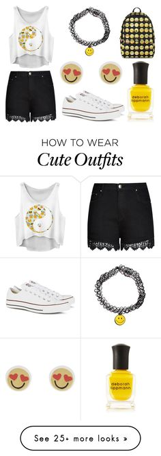 """Emoji Outfit + Accessories"" by lexi899 on Polyvore featuring City Chic, Converse, Deborah Lippmann, Kate Spade, white, yellow, black and emoji"